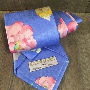 Leonard Paris Silk Tie Des No 71611 Butterflies